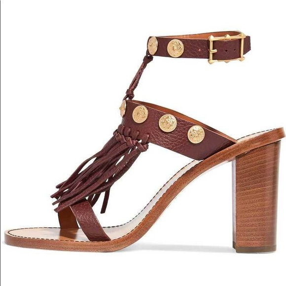 66dafdd300b8 Valentino Fringed textured leather Sandals